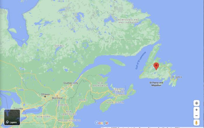 Newfoundland and Labrador, Canada Google Map